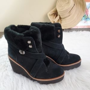 Coach Kenna Size 6.5 Black Suede Wedge Boots